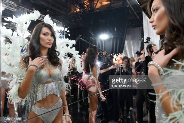 Bella Hadid poses backstage during the 2018 Victoria's Secret Fashion Show at Pier 94 on November 8, 2018 in New York City.