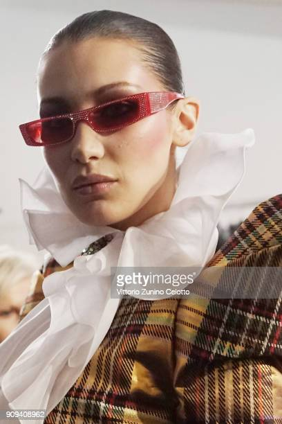 Bella Hadid poses backstage prior the Alexandre Vauthier Spring Summer 2018 show as part of Paris Fashion Week on January 23 2018 in Paris France