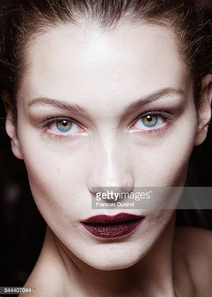 Bella Hadid poses Backstage prior the Atelier Versace Haute Couture Fall/Winter 20162017 show as part of Paris Fashion Week on July 3 2016 in Paris...