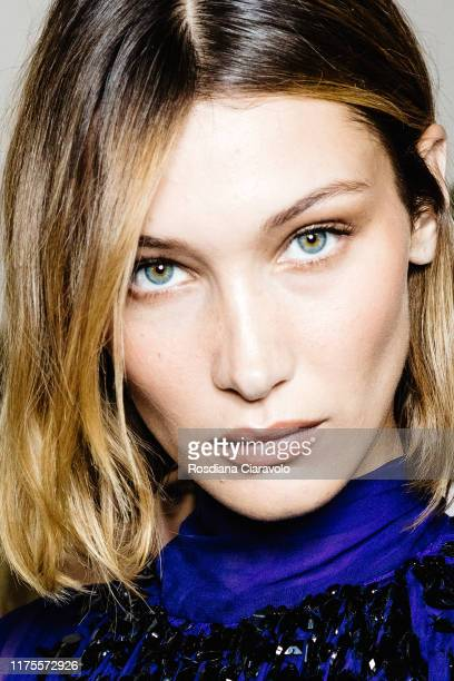 Bella Hadid poses during backstage for Alberta Ferretti fashion show during the Milan Fashion Week Spring/Summer 2020 on September 18, 2019 in Milan,...