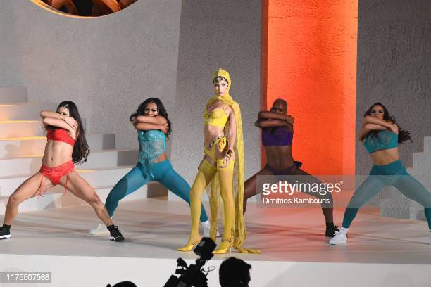 Bella Hadid poses onstage during the Savage X Fenty Show Presented by Amazon Prime Video Show at Barclays Center on September 10 2019 in Brooklyn New...