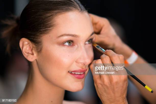 Bella Hadid prepares backstage before the Prabal Gurung fashion show during New York Fashion Week at Gallery I at Spring Studios on February 11, 2018...