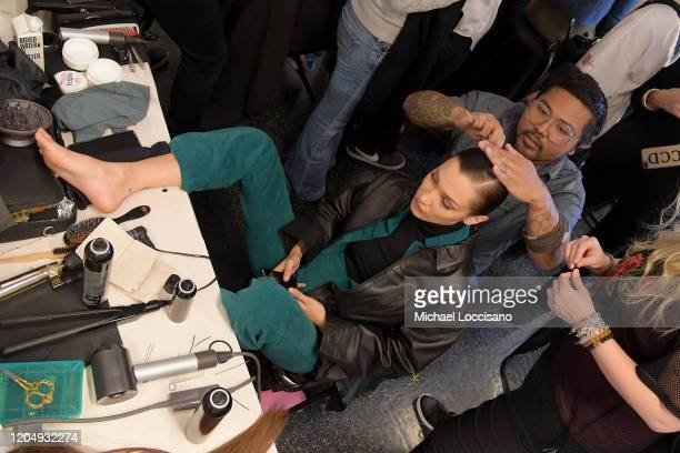 Bella Hadid prepares backstage for Brandon Maxwell during New York Fashion Week: The Shows at American Museum of Natural History on February 08, 2020...