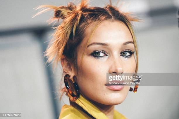 Bella Hadid prepares backstage for Fendi fashion show during the Milan Fashion Week Spring/Summer 2020 on September 19 2019 in Milan Italy