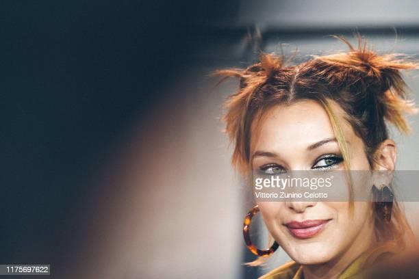 Bella Hadid prepares backstage for Fendi fashion show during the Milan Fashion Week Spring/Summer 2020 on September 19, 2019 in Milan, Italy.