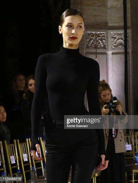 Bella Hadid rehearses for TRESemme at the Oscar de la Renta show for NYFW on February 12, 2019 in New York City.