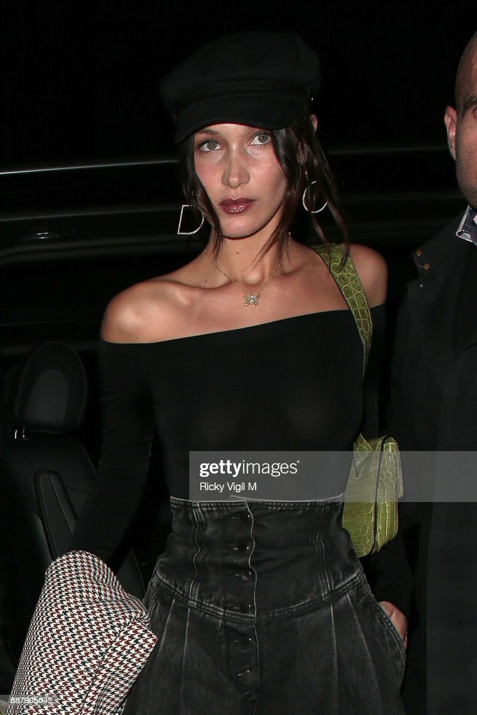 Bella Hadid returns to her hotel in London after night out at China Tang on December 7, 2017 in London, England.