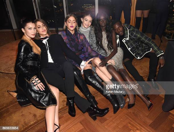 Bella Hadid Sama Khadra Haza Khadra Gigi Hadid Duckie Thot and Kofi Siriboe attend V Magazine's intimate dinner in honor of Karl Lagerfeld at The Top...