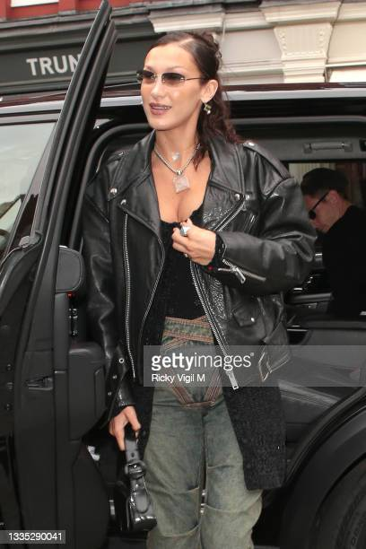 Bella Hadid seen arriving back at her hotel after day out with Marc Kalman on August 20, 2021 in London, England.