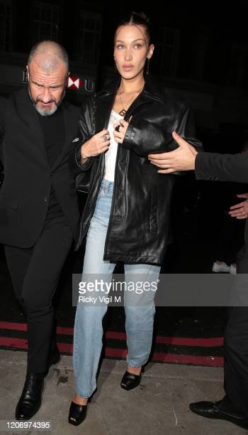 Bella Hadid seen attending LOVE Magazine party at The Standard during LFW February 2020 on February 17 2020 in London England