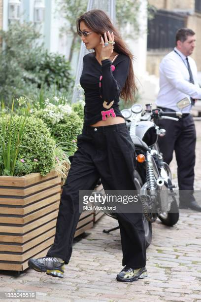 Bella Hadid seen leaving her hotel and heading out for lunch on August 19, 2021 in London, England.