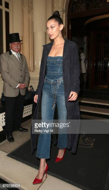 Bella Hadid seen leaving her hotel heading to Selfridges to meet her fans as she helps launch the new Diorshow Pump'N'Volume Mascara on April 20 2017...