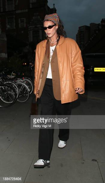 Bella Hadid seen on a night out with friends leaving Chiltern Firehouse on August 17, 2021 in London, England.