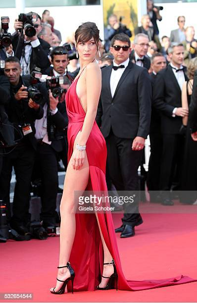 Bella Hadid sister of Gigi Hadid attends The Unknown Girl Premiere during the 69th annual Cannes Film Festival at the Palais des Festivals on May 18...