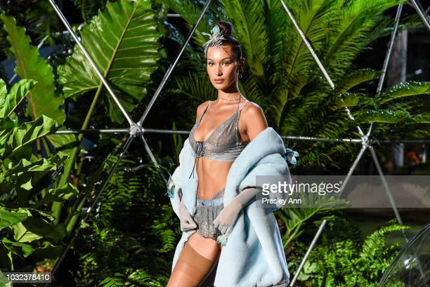 Bella Hadid walks at the Savage x Fenty September 2018 New York Fashion Week at Brooklyn Navy Yard on September 12 2018 in Brooklyn New York