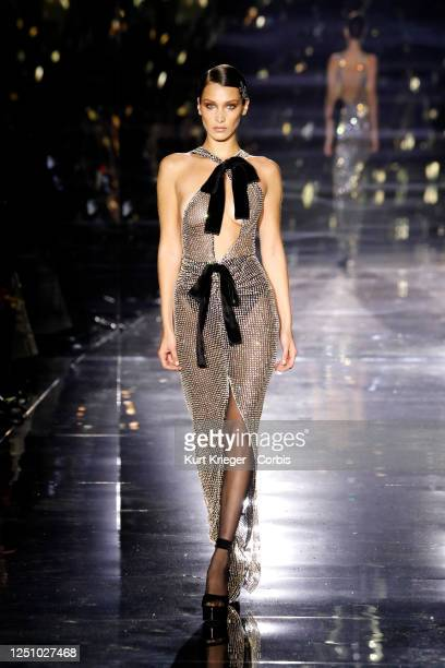 Bella Hadid walks the catwalk of the Tom Ford: Autumn/Winter 2020 Show at Milk Studios on February 07, 2020 in Hollywood, California.