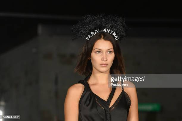 Bella Hadid walks the runway at Alexander Wang fashion show during New York Fashion Week on September 9 2017 in the Brooklyn borough of New York City...