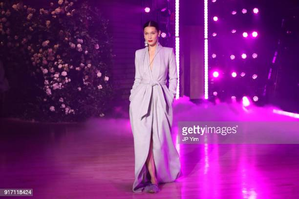 Bella Hadid walks the runway at Brandon Maxwell Fall Winter 2018 Collection at the Appel Room on February 11 2018 in New York City
