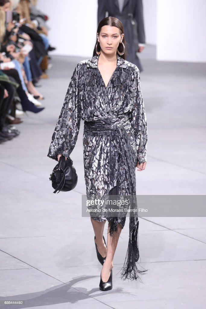 Bella Hadid walks the runway at Michael Kors show during New York Fashion Week at Spring Studios on February 15, 2017 in New York City.