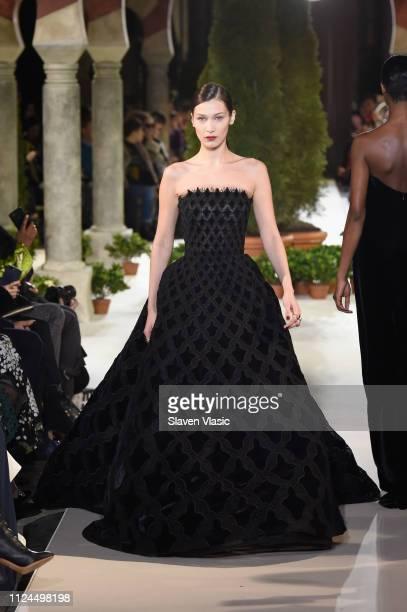 Bella Hadid walks the runway at Oscar De La Renta during New York Fashion Week at the Cunard Building on February 12 2019 in New York City