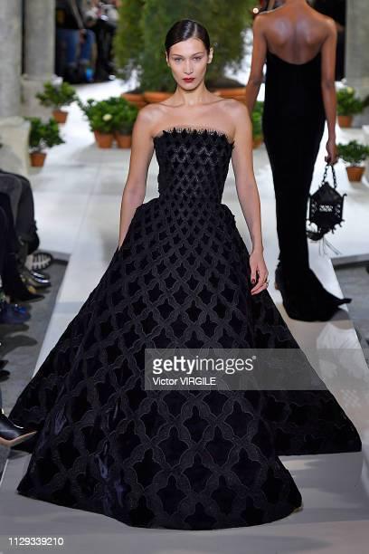 Bella Hadid walks the runway at Oscar De La Renta Ready to Wear Fall/Winter 20192020 fashion show during New York Fashion Week on February 12 2019 in...