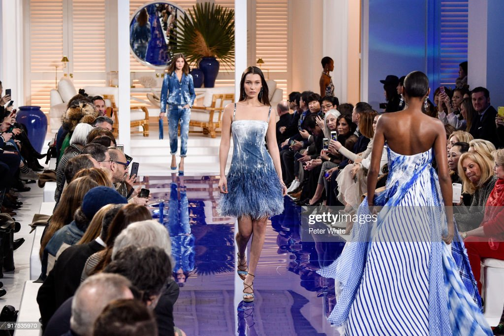Bella Hadid walks the runway at Ralph Lauren Spring/Summer 18 fashion show during the New York Fashion Week on February 12, 2018 in New York City.
