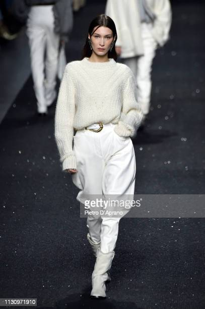 Bella Hadid walks the runway at the Alberta Ferretti show at Milan Fashion Week Autumn/Winter 2019/20 on February 20 2019 in Milan Italy