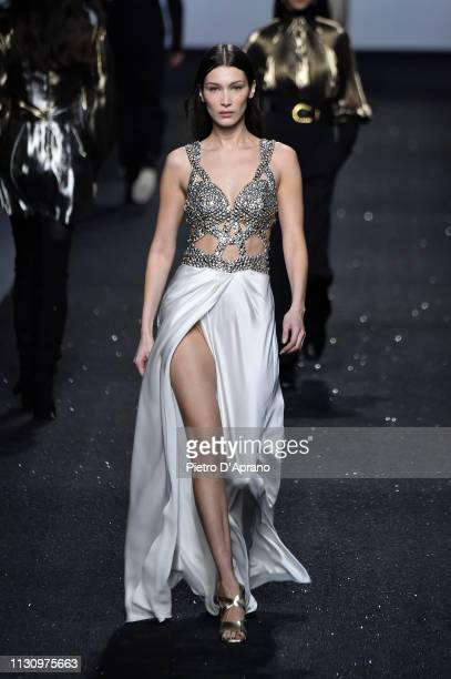 Bella Hadid walks the runway at the Alberta Ferretti show at Milan Fashion Week Autumn/Winter 2019/20 on February 20 2019 in Milan Italy
