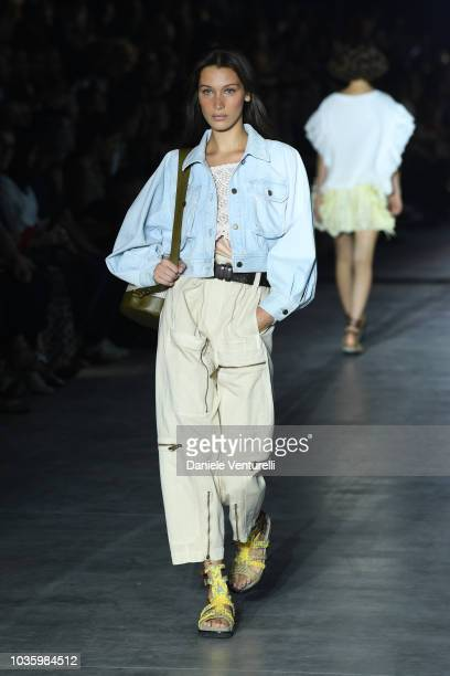 Bella Hadid walks the runway at the Alberta Ferretti show during Milan Fashion Week Spring/Summer 2019 on September 19 2018 in Milan Italy