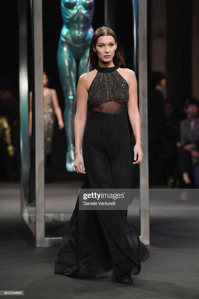 Bella Hadid walks the runway at the Alberta Ferretti show during Milan Fashion Week Fall/Winter 2018/19 on February 21, 2018 in Milan, Italy.