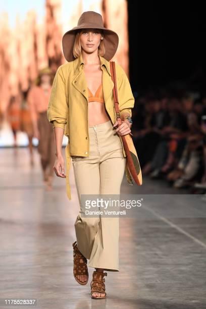 Bella Hadid walks the runway at the Alberta Ferretti show during the Milan Fashion Week Spring/Summer 2020 on September 18, 2019 in Milan, Italy.