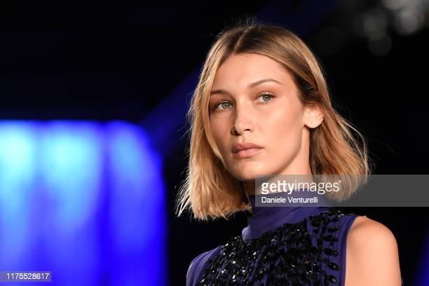 Bella Hadid walks the runway at the Alberta Ferretti show during the Milan Fashion Week Spring/Summer 2020 on September 18 2019 in Milan Italy
