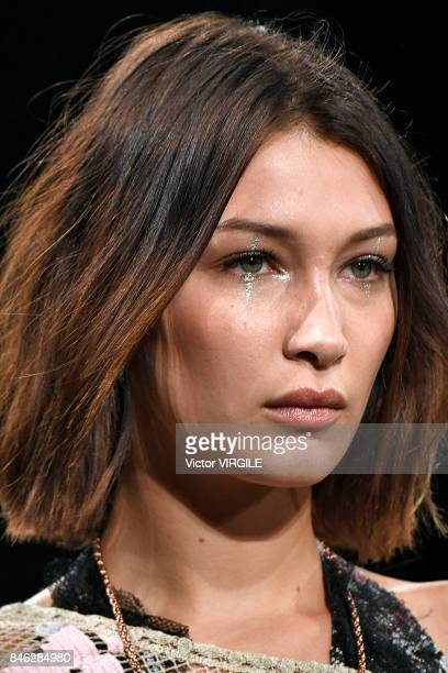 Bella Hadid walks the runway at the Anna Sui Ready to Wear Spring/Summer 2018 fashion show during New York Fashion Week on September 11 2017 in New...
