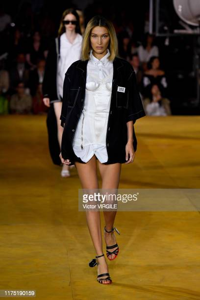 Bella Hadid walks the runway at the Burberry Ready to Wear Spring/Summer 2020 fashion show during London Fashion Week September 2019 on September 16...