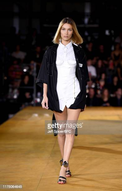 Bella Hadid walks the runway at the Burberry show during London Fashion Week September 2019 at Troubadour White City Theatre on September 16, 2019 in...