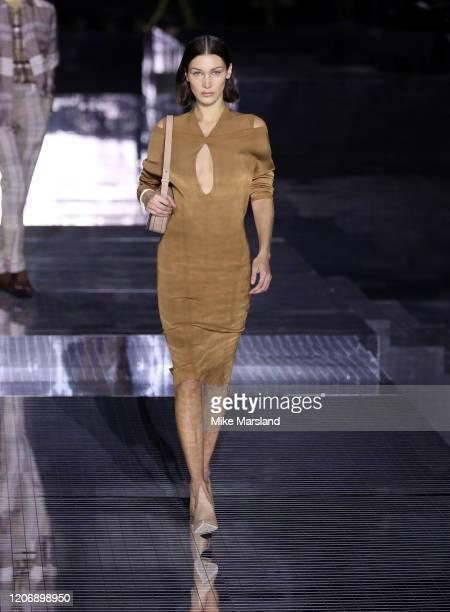 Bella Hadid walks the runway at the Burberry show during London Fashion Week February 2020 on February 17 2020 in London England