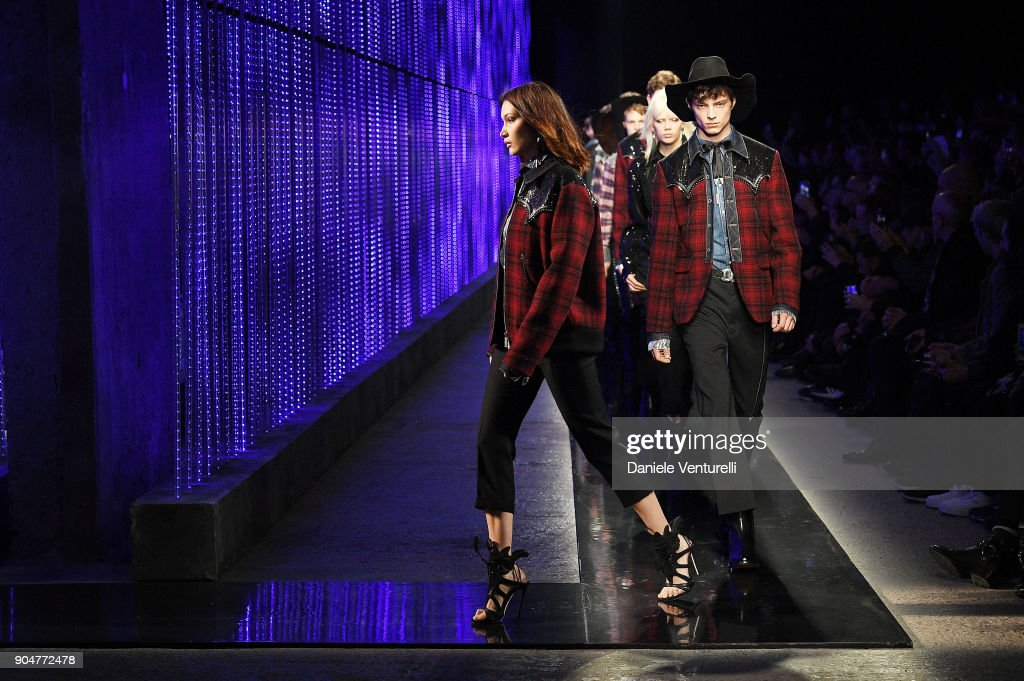 Bella Hadid walks the runway at the Dsquared2 show during Milan Men's Fashion Week Fall/Winter 2018/19 on January 14, 2018 in Milan, Italy.