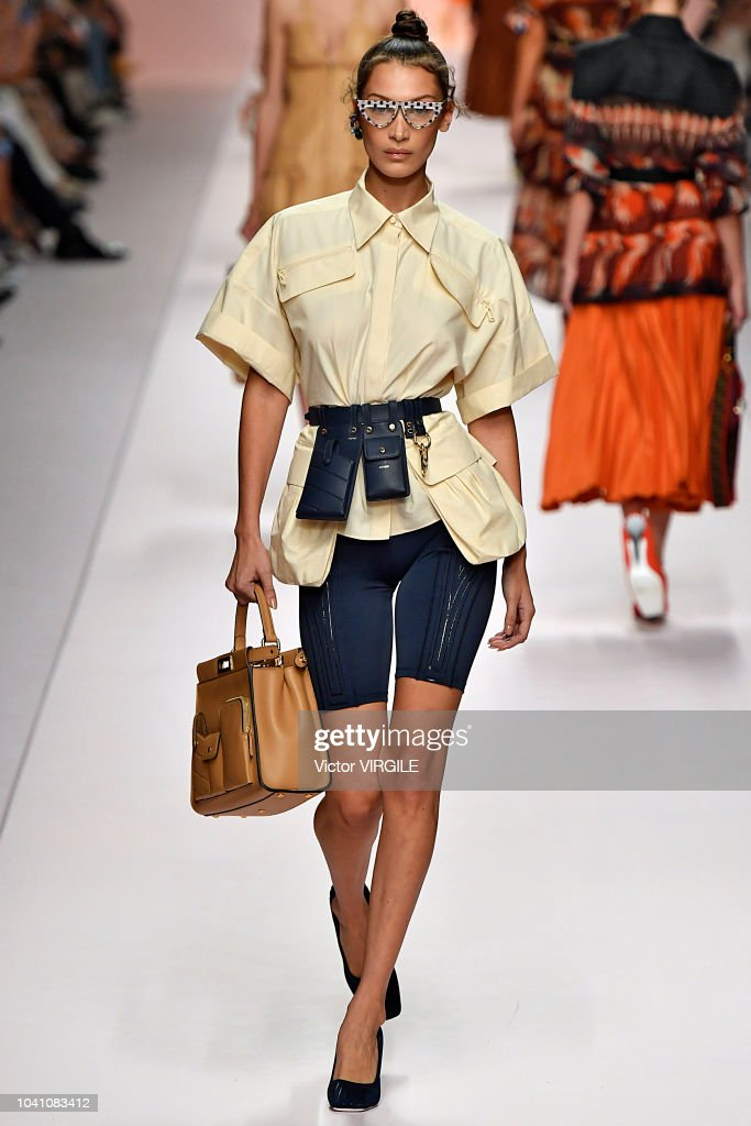 6e9ad19a60c Bella Hadid walks the runway at the Fendi Ready to Wear fashion show ...
