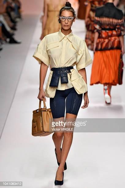 Bella Hadid walks the runway at the Fendi Ready to Wear fashion show during Milan Fashion Week Spring/Summer 2019 on September 20 2018 in Milan Italy