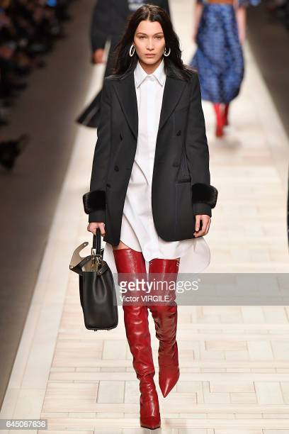 Bella Hadid walks the runway at the Fendi Ready to Wear fashion show during Milan Fashion Week Fall/Winter 2017/18 on February 23 2017 in Milan Italy