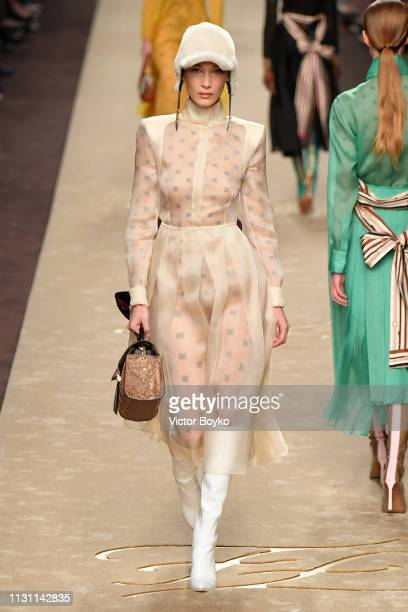 Bella Hadid walks the runway at the Fendi show at Milan Fashion Week Autumn/Winter 2019/20 on February 21 2019 in Milan Italy