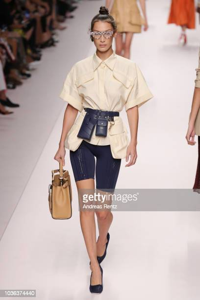 Bella Hadid walks the runway at the Fendi show during Milan Fashion Week Spring/Summer 2019 on September 20 2018 in Milan Italy