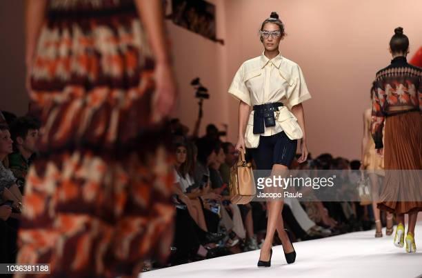 Bella Hadid walks the runway at the Fendi show during Milan Fashion Week Spring/Summer 2019 on September 20 2018 in Milan Italy