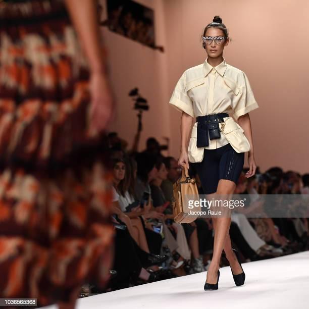 1e2f66afb9e Bella Hadid walks the runway at the Fendi show during Milan Fashion Week  Spring Summer
