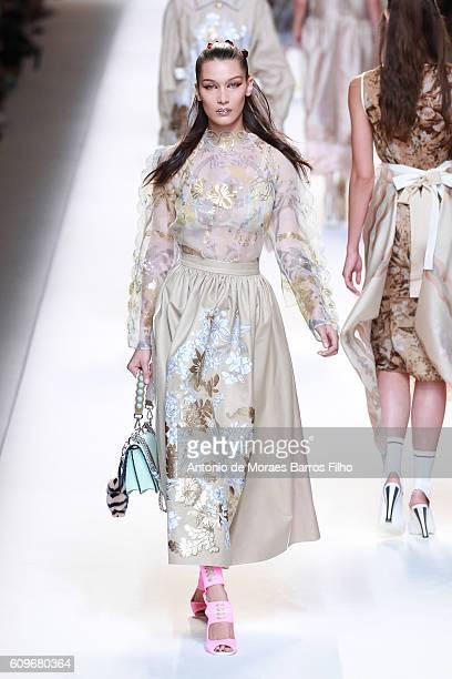 Bella Hadid walks the runway at the Fendi show during Milan Fashion Week Spring/Summer 2017 on September 22 2016 in Milan Italy