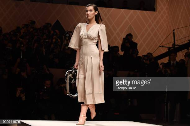 Bella Hadid walks the runway at the Fendi show during Milan Fashion Week Fall/Winter 2018/19 on February 22 2018 in Milan Italy