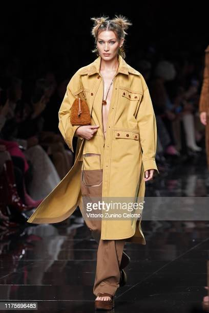 Bella Hadid walks the runway at the Fendi show during the Milan Fashion Week Spring/Summer 2020 on September 19, 2019 in Milan, Italy.