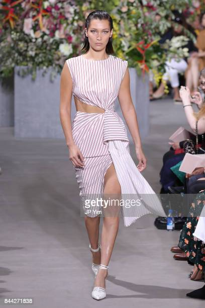 Bella Hadid walks the runway at the Jason Wu SS 2018 Collection at Fulton Market during New York Fashion Week on September 8 2017 in New York City