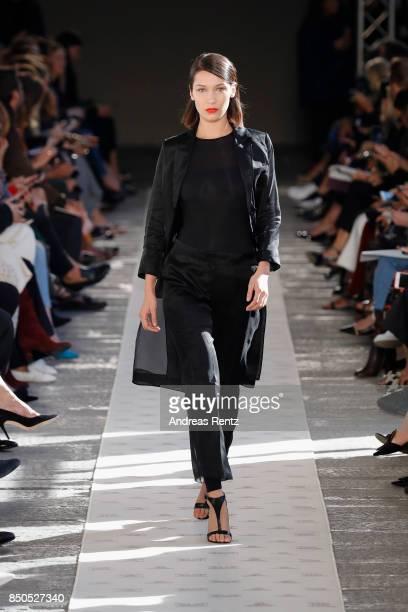 Bella Hadid walks the runway at the Max Mara show during Milan Fashion Week Spring/Summer 2018 on September 21 2017 in Milan Italy