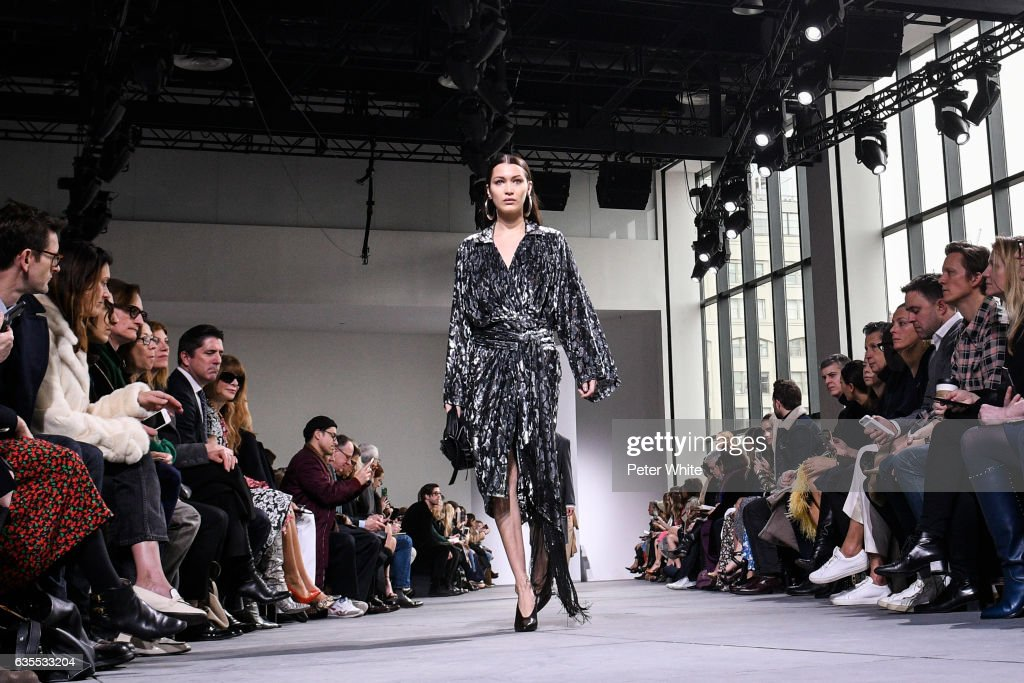 Bella Hadid walks the runway at the Michael Kors Collection Fall 2017 show at Spring Studios on at Spring Studios on February 15, 2017 in New York City.